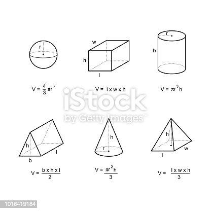 Vetor de Fórmulas De Área E Volume De Geometria No Vetor