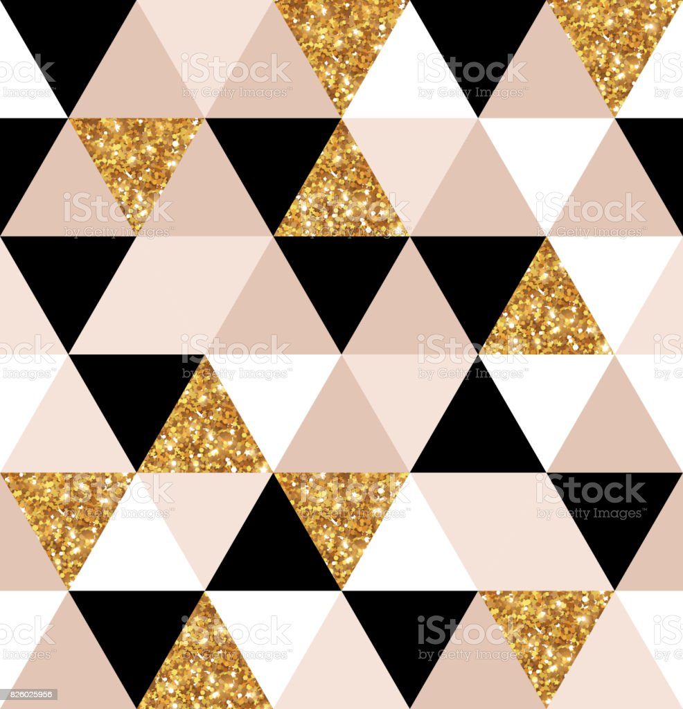 Geometry Gold Black And White Triangles Texture Stock Vector Art & More Images of Abstract - iStock