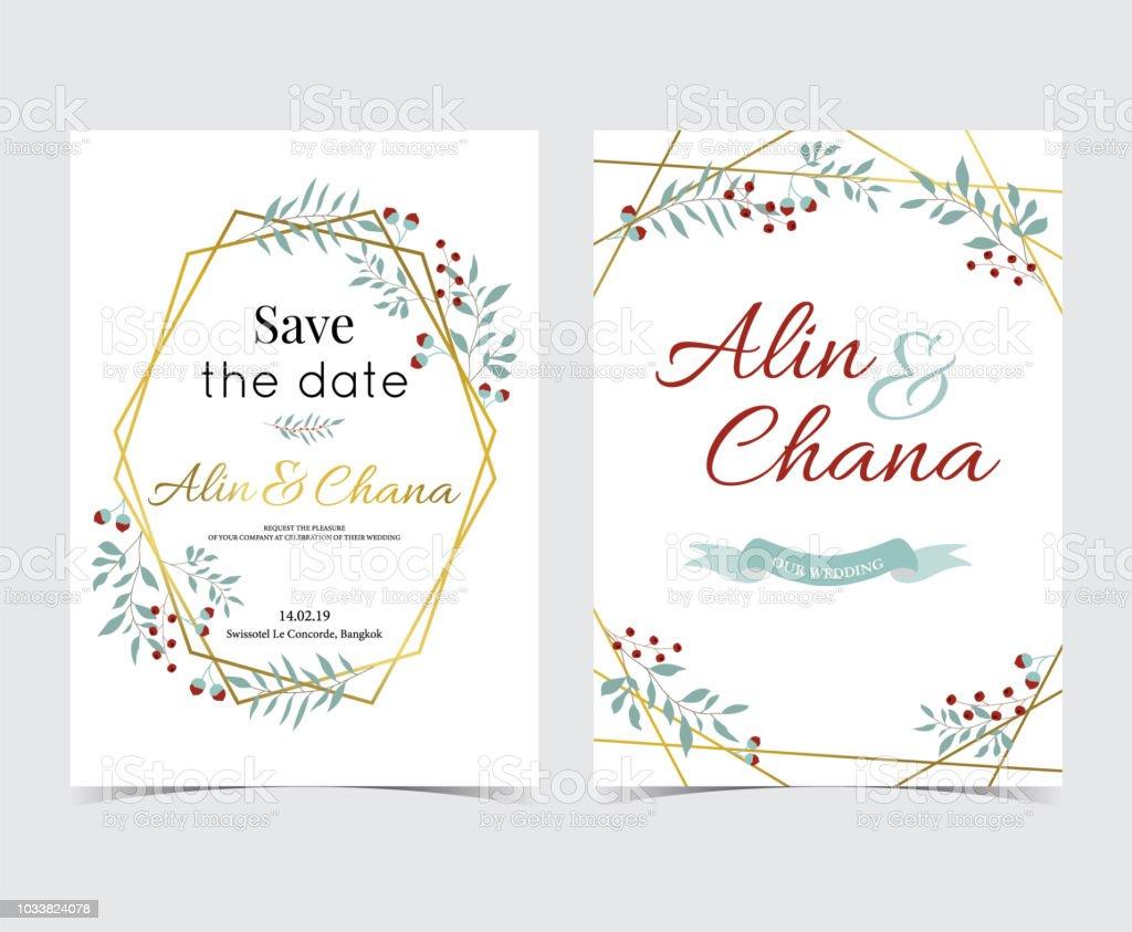 Geometry Gold Wedding Invitation Card With Flowerleafribbonwreath