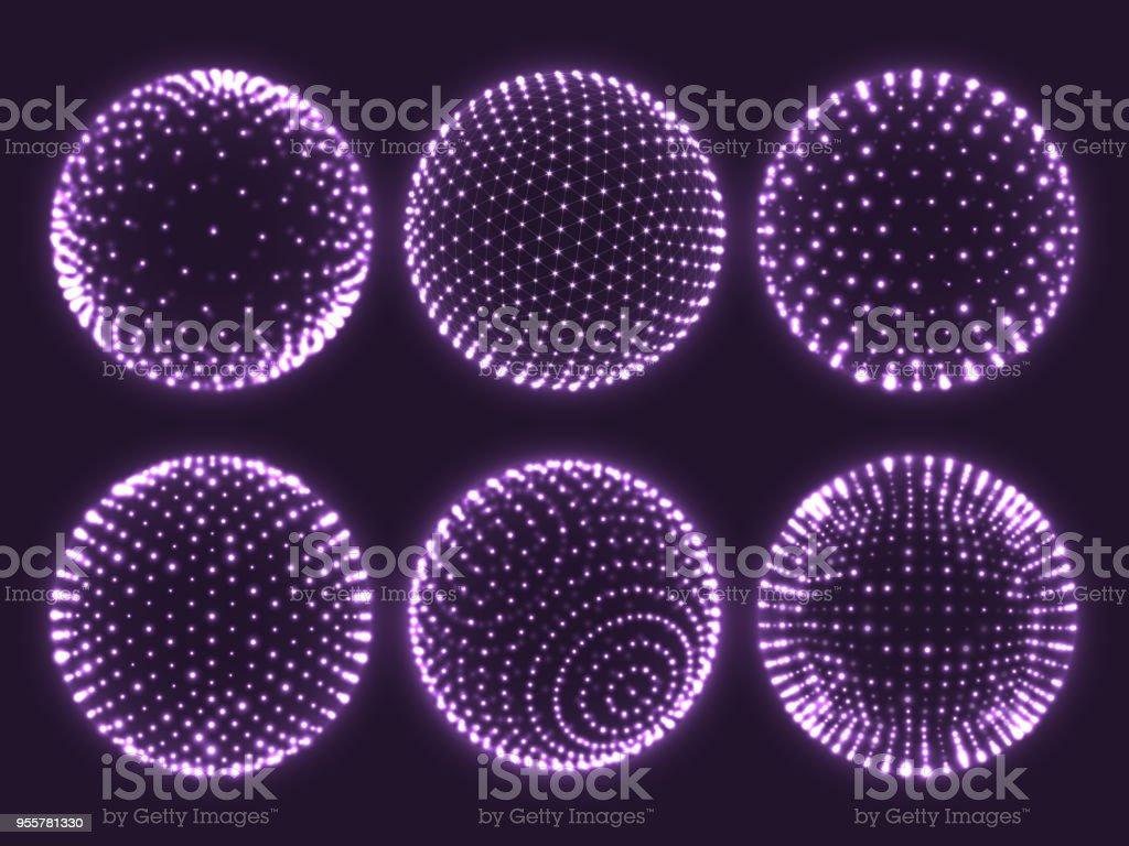 Esfera 3d de la red de geometría, átomo orbe, carta de la ciencia de partículas o icono de la bola de realidad virtual. Esferas abstractas vector set - ilustración de arte vectorial