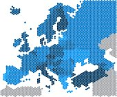 Geometry hexagon form of Europe map on white background. Vector illustration.