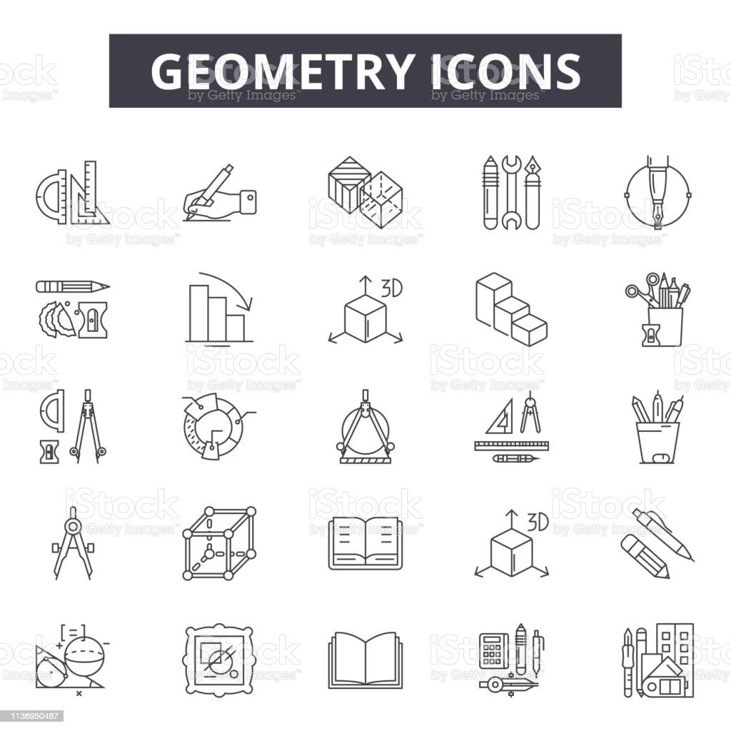 Geometry line icons for web and mobile. Editable stroke signs....