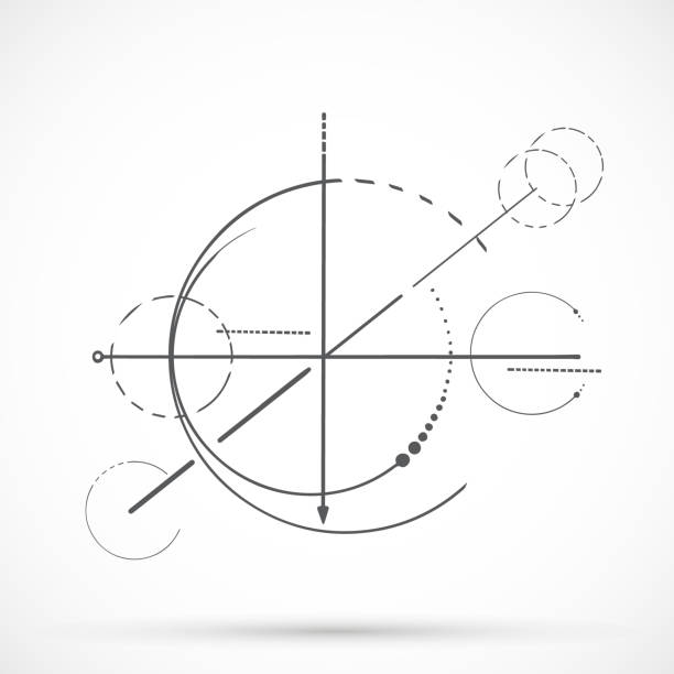 geometri çizgi seti - compass stock illustrations