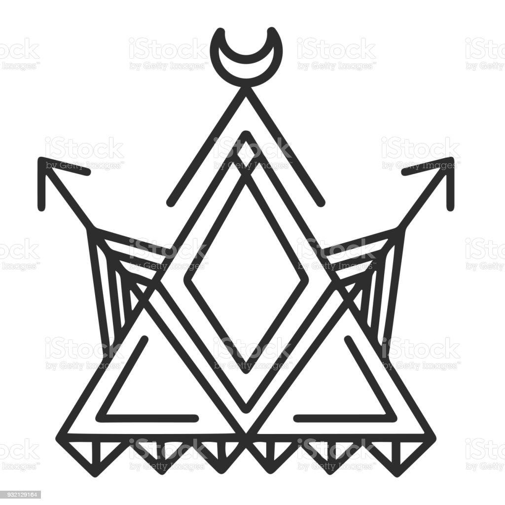 Ilustración de Geometría Luna Flecha Tatuaje Diseño Vector Imagen y ...