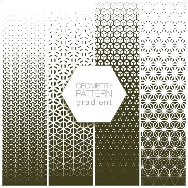 geometry pattern gradient set in gray vector art illustration