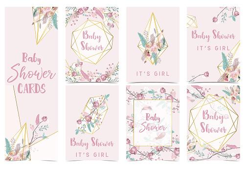 Geometry Pink Gold Baby Shower Invitation Card With Roseleafribbonwreathfeather And Frame Stockowe Grafiki Wektorowe I Więcej Obrazów Bazgroły