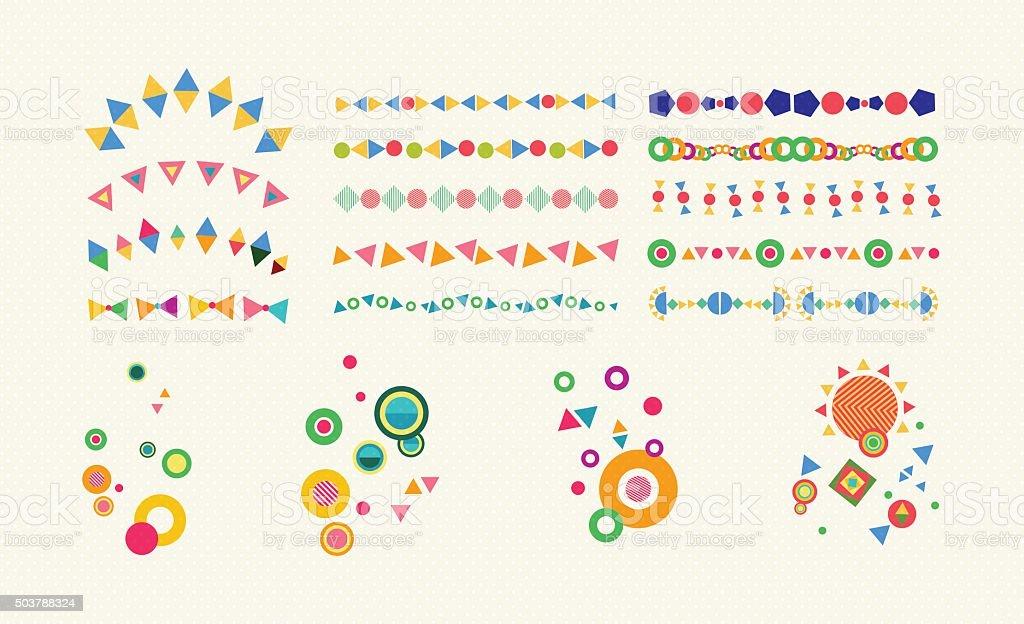 Geometry set element color abstract divider symbol vector art illustration