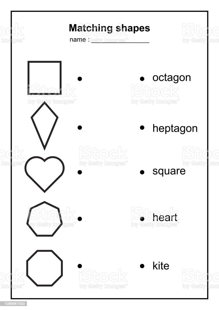 image relating to Printable Geometric Shapes named Geometry Form Matching Recreation Enlightening Geometric Designs Activity Printable Discovering Articles For Little ones Black And White Printables Match Case in point Inventory