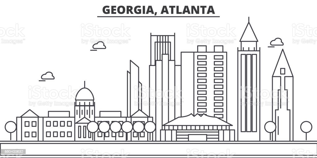 Georgia, Atlanta architecture line skyline illustration. Linear vector cityscape with famous landmarks, city sights, design icons. Landscape wtih editable strokes vector art illustration