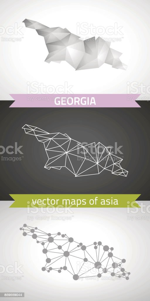 Georgia collection of vector design modern maps, gray and black and silver dot outline mosaic 3d map vector art illustration
