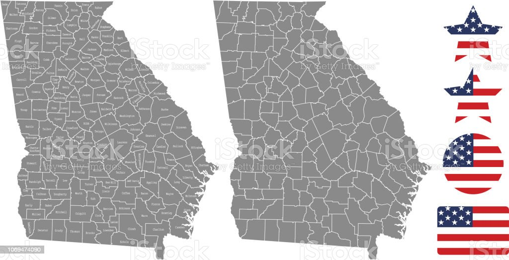 Georgia County Map Vector Outline In Gray Background Georgia State