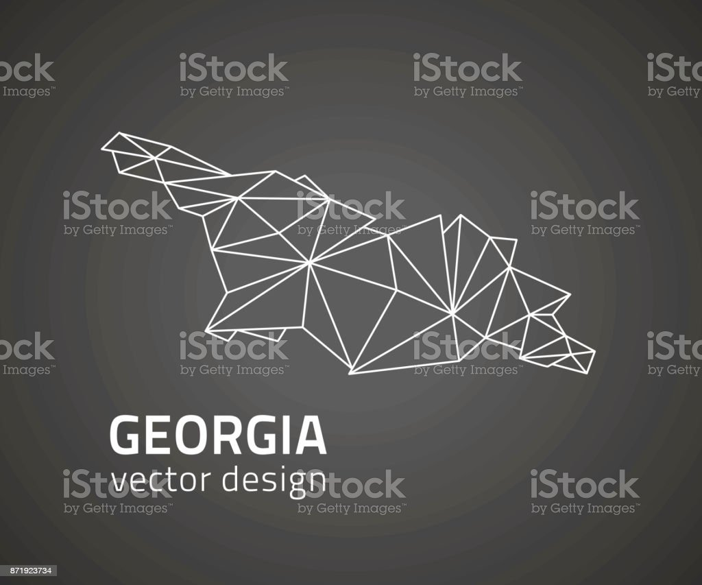 Georgia dark vector contour triangle perspective map vector art illustration