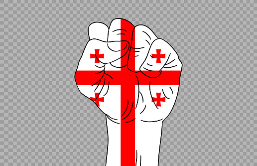 Georgia flag colored hand isolated on png or transparent  background, Symbols of Georgia template for banner,card,advertising ,promote,magazine,vector,top gold medal winner sport country