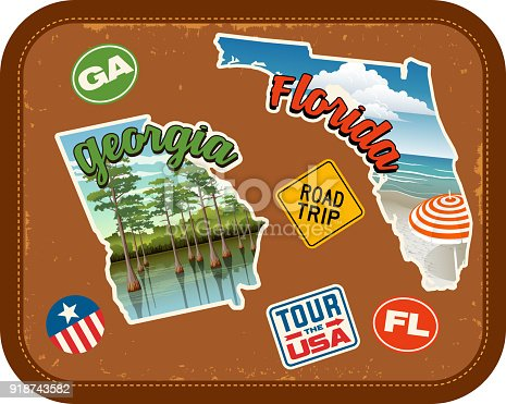 Georgia, Florida, travel stickers with scenic attractions and retro