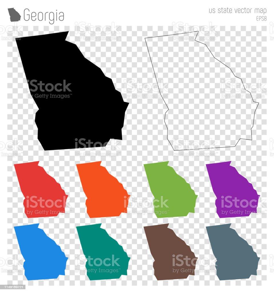 Georgien Karte Regionen.Georgien Hoch Detaillierte Karte Stock Vektor Art Und Mehr Bilder