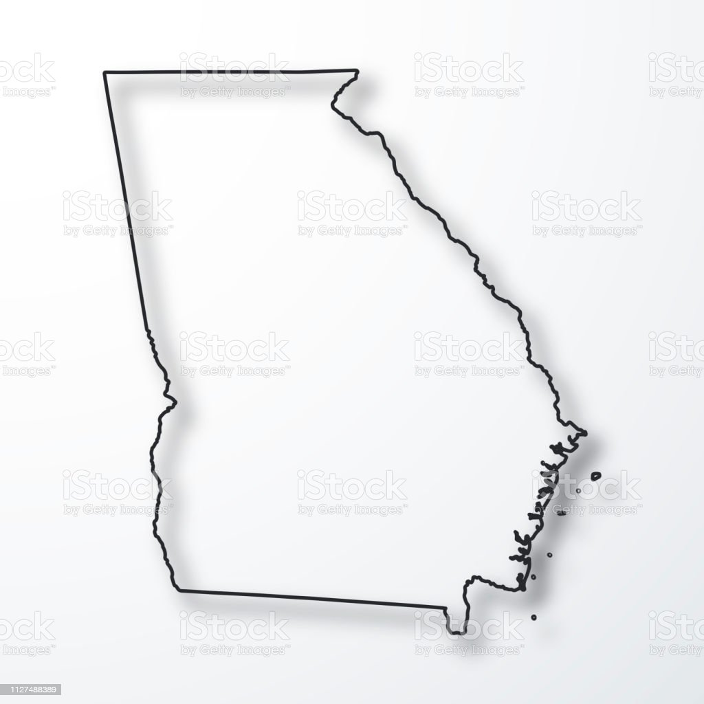 Outline Of Georgia Map.Georgia Map Black Outline With Shadow On White Background Stock