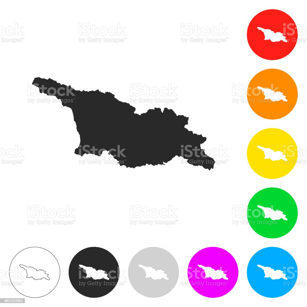 Georgia map - Flat icons on different color buttons vector art illustration