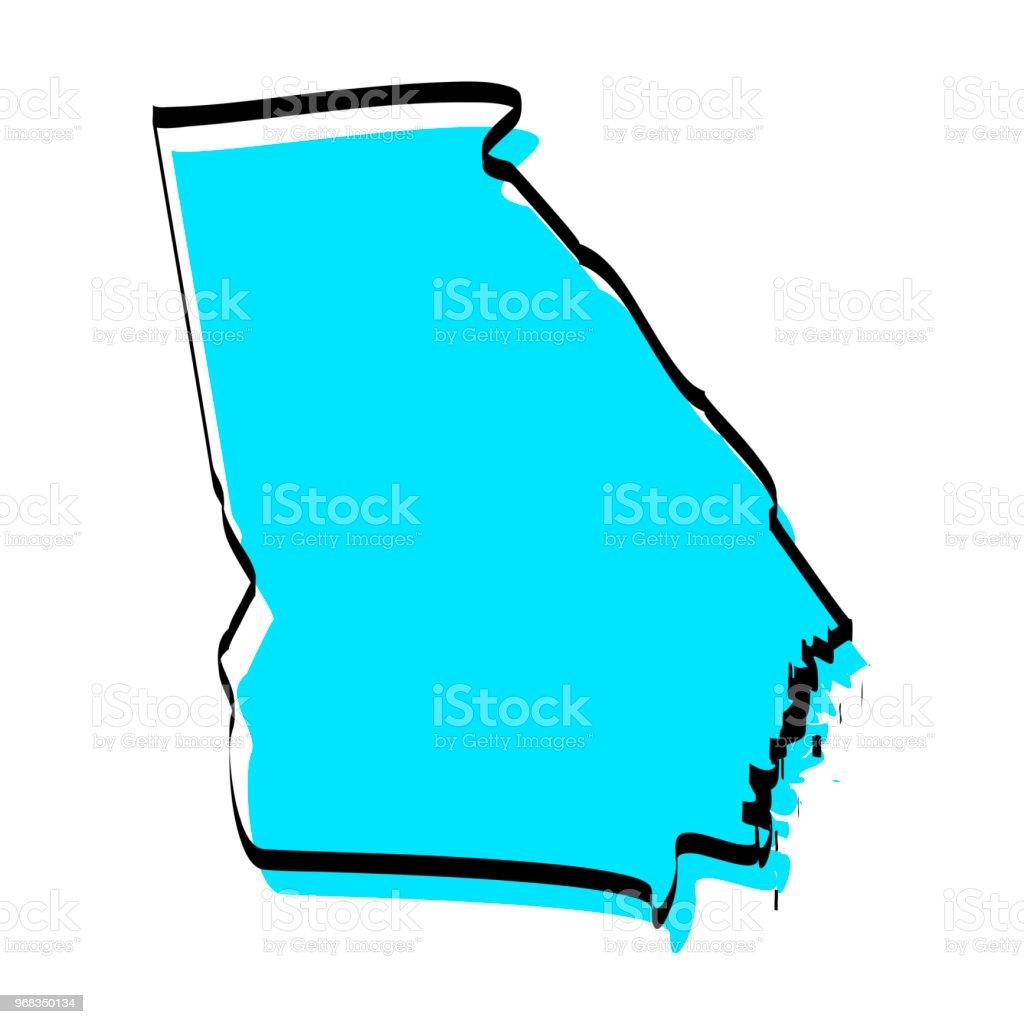 Georgia Map Hand Drawn On White Background Trendy Design Stock