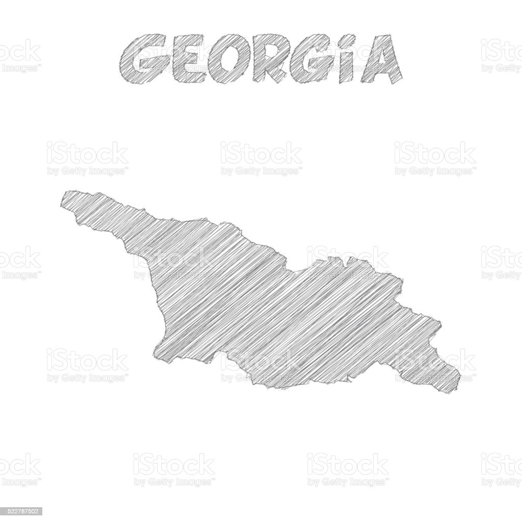 Georgia Map Hand Drawn On White Background Stock Vector Art - Georgia map drawing