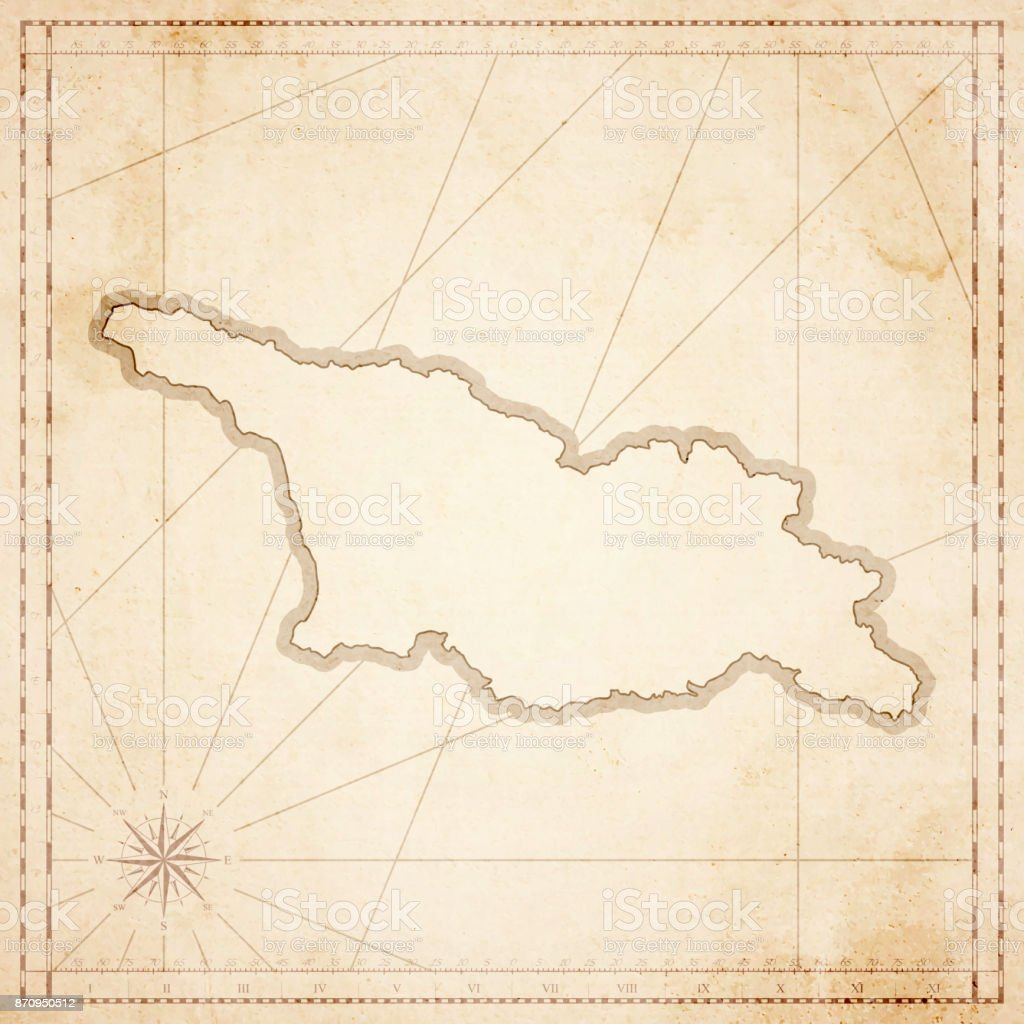 Georgia map in retro vintage style - old textured paper vector art illustration
