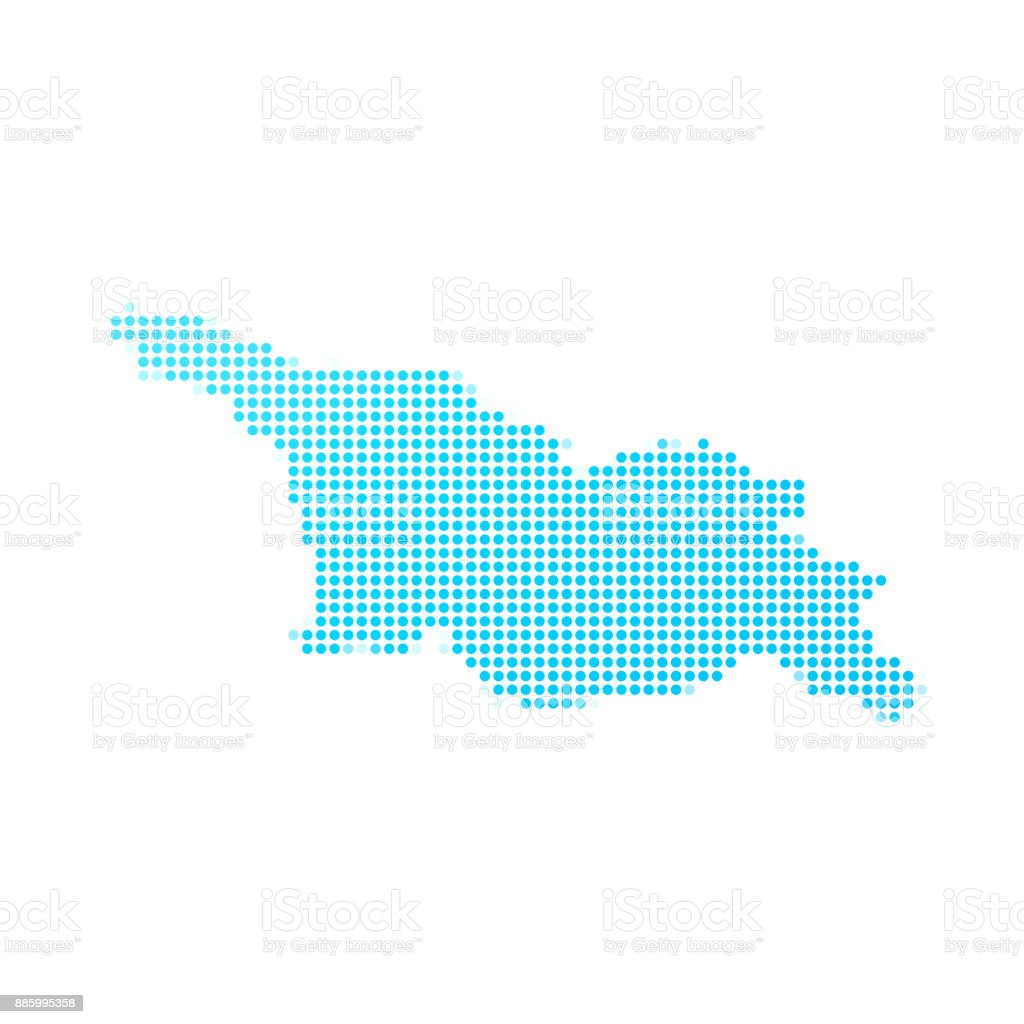 Georgia map of blue dots on white background vector art illustration