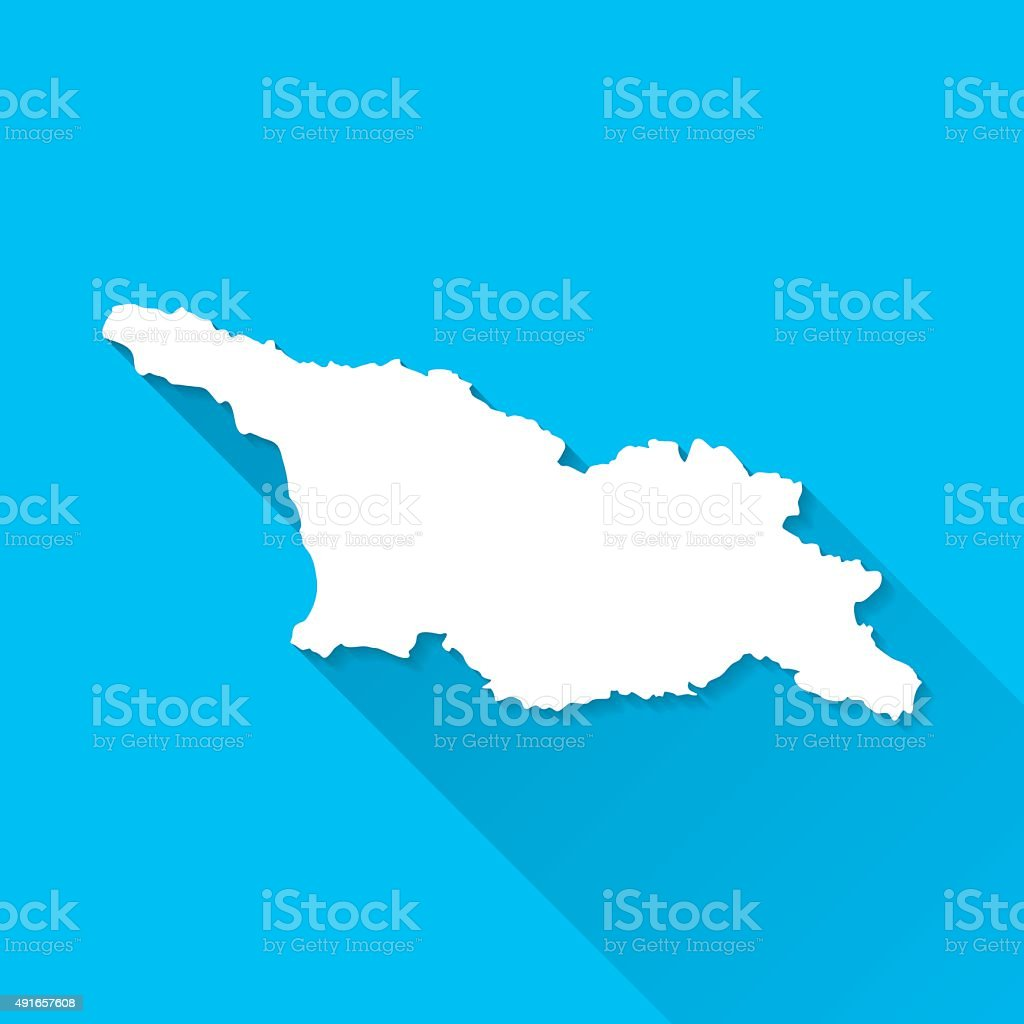 Georgia Map on Blue Background, Long Shadow, Flat Design vector art illustration