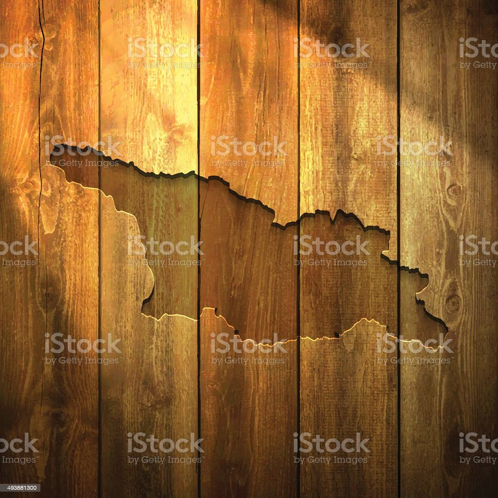 Georgia Map on lit Wooden Background vector art illustration