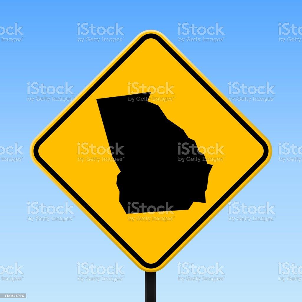 Georgien Karte Regionen.Georgienkarte Auf Dem Straßenschild Stock Vektor Art Und Mehr Bilder