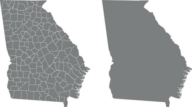 Georgia map – artystyczna grafika wektorowa