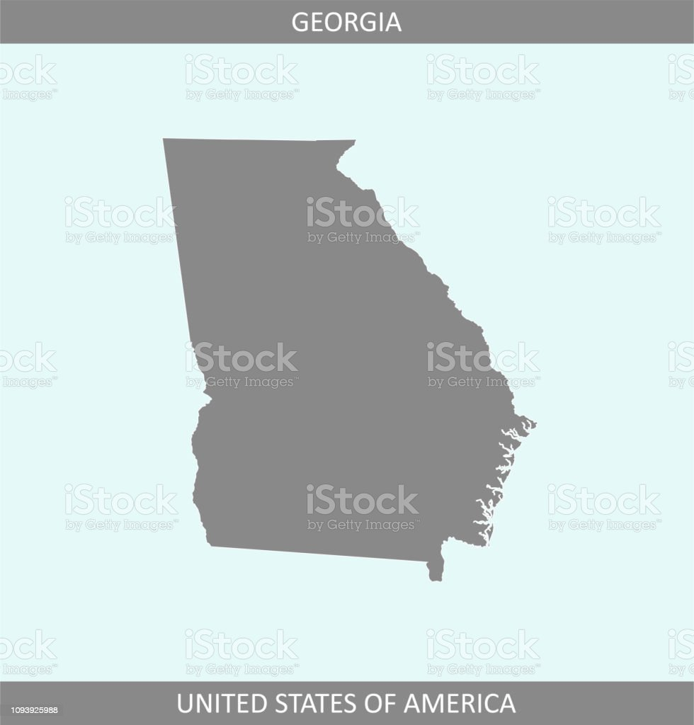 Map Of America Georgia.Georgia Map Vector Outline Gray Background A State Of United States
