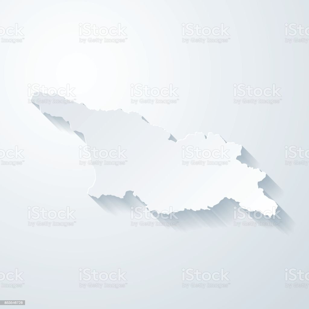Georgia map with paper cut effect on blank background vector art illustration