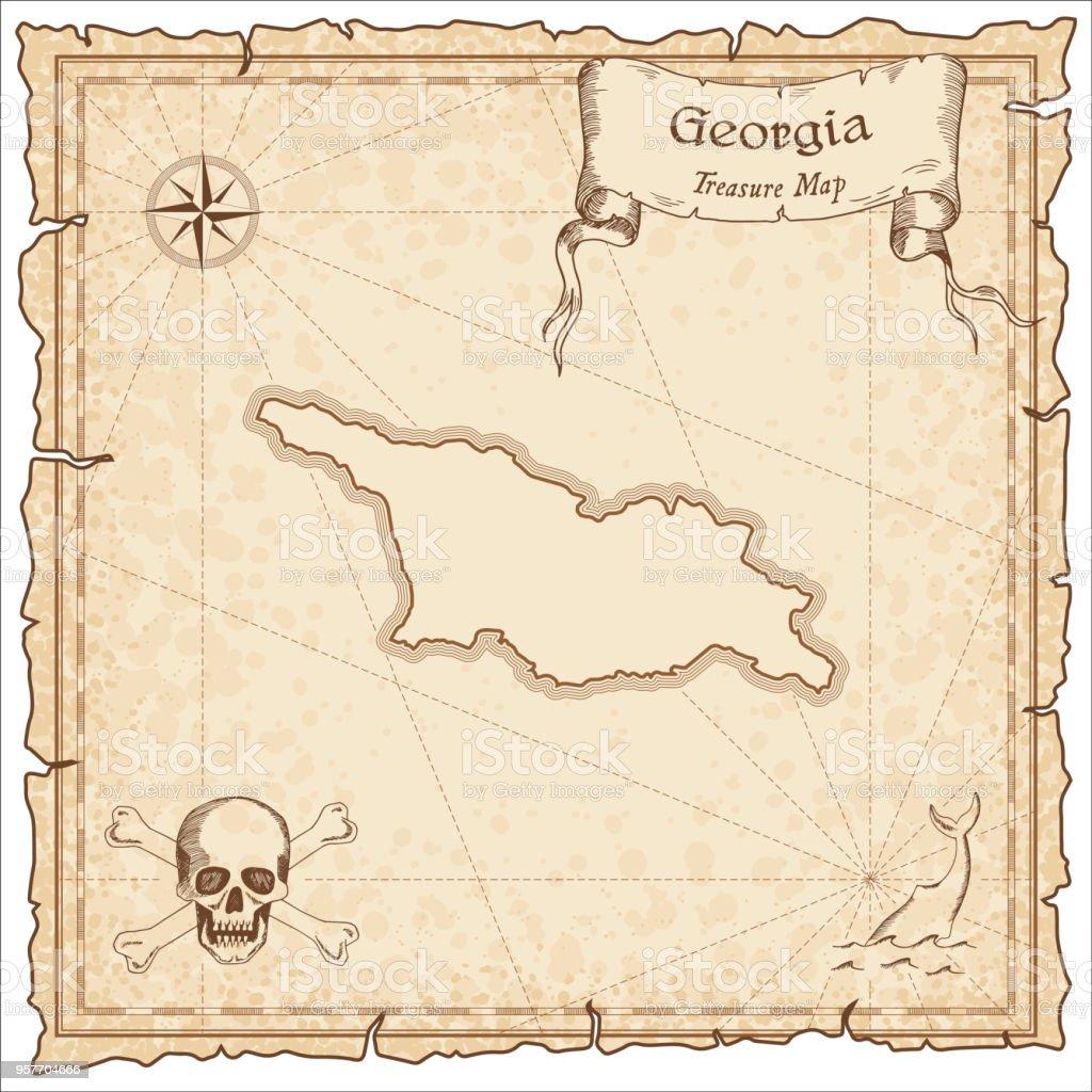 Georgien Karte Regionen.Georgien Alte Piratenkarte Stock Vektor Art Und Mehr Bilder Von