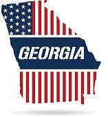 Georgia patriotic map. Vector graphic design illustration