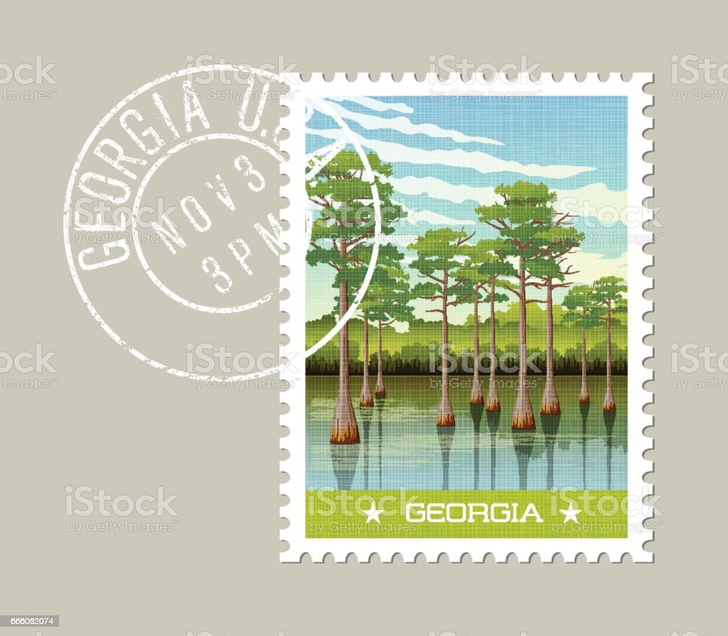 Georgia postage stamp design. Vector illustration of wetland forest with Bald Cypress trees. vector art illustration
