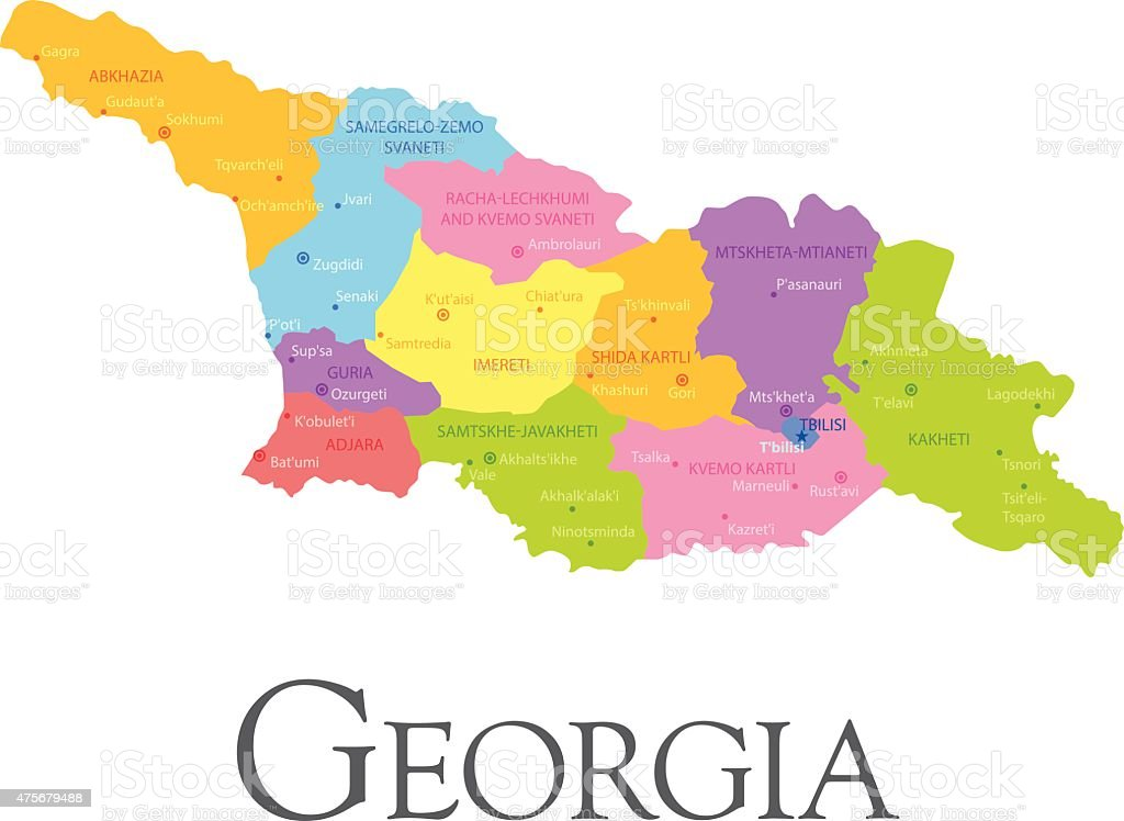 Georgia Regional Map Stock Vector Art IStock - Georgia kakheti map