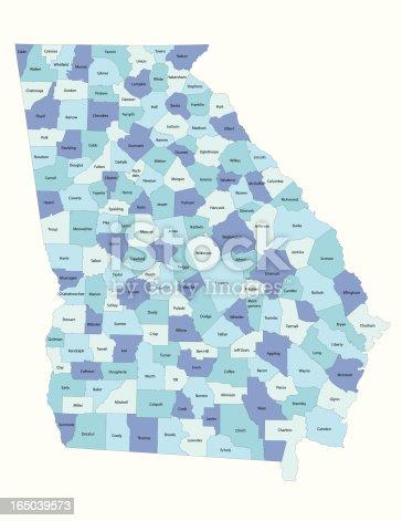 istock Georgia state - county map 165039573
