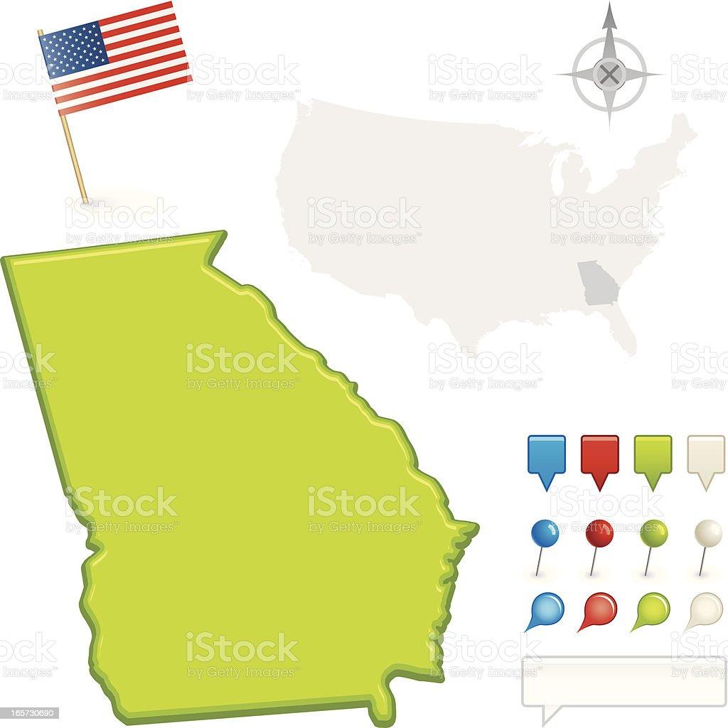 Georgia State Map Stock Vector Art IStock - Georgia us state map