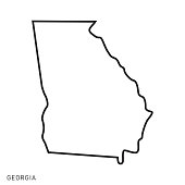 istock Georgia - States of USA Outline Map Vector Template Illustration Design. Editable Stroke. 1277771443