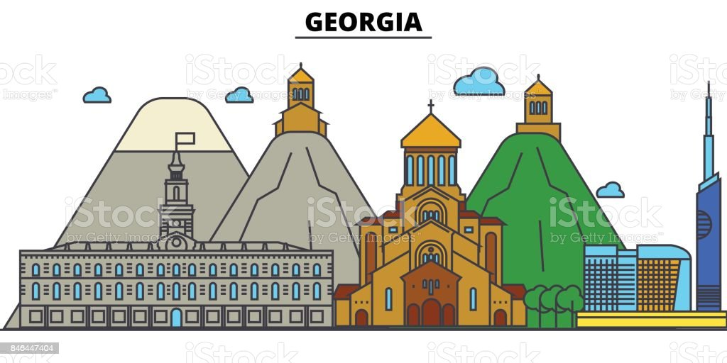 Georgia, Tbilisi. City skyline architecture, buildings, streets, silhouette, landscape, panorama, landmarks. Editable strokes. Flat design line vector illustration concept. Isolated icons set vector art illustration