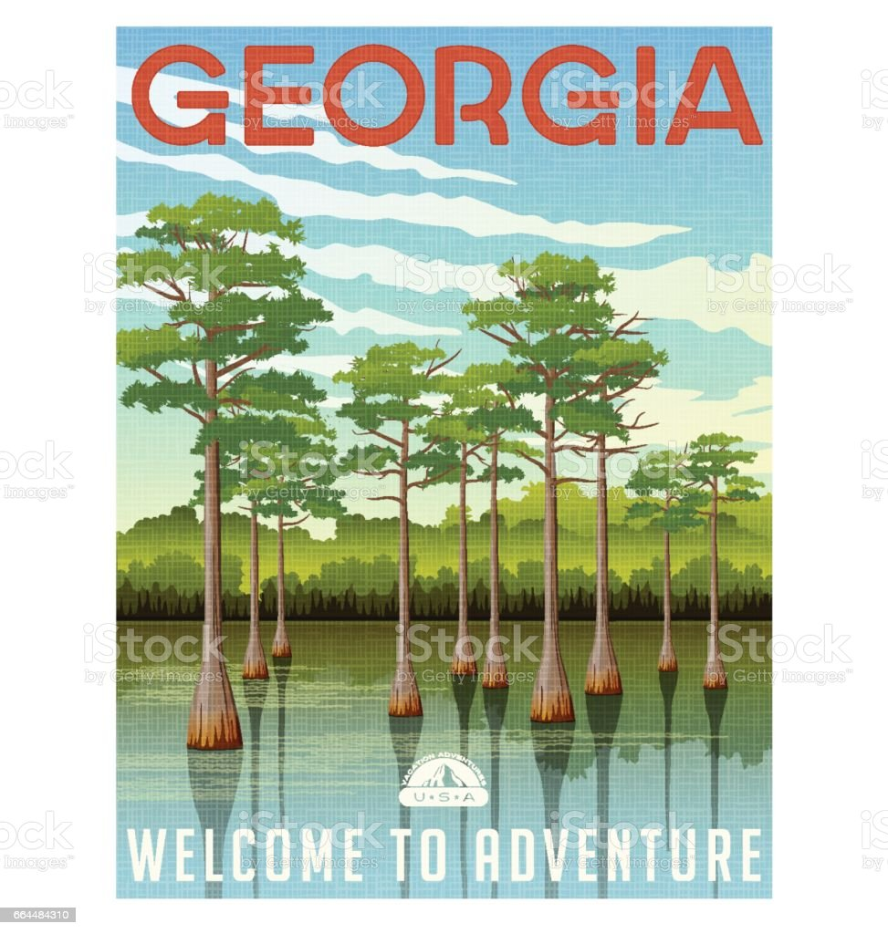 Georgia travel poster or sticker. Vector illustration of bald cypress in wetland swamp vector art illustration