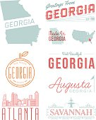 A set of vintage-style icons and typography representing the state of Georgia, including Atlanta, Savannah and Augusta. Each items is on a separate layer. Includes a layered Photoshop document. Ideal for both print and web elements.