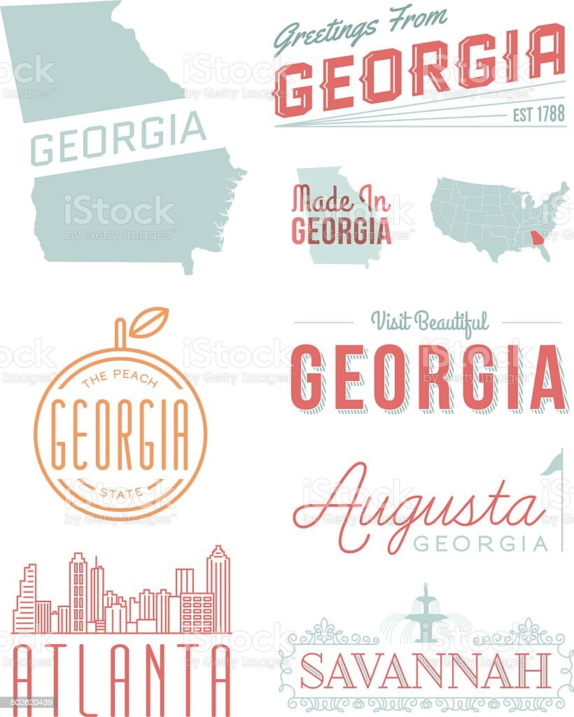 Georgia Typography vector art illustration