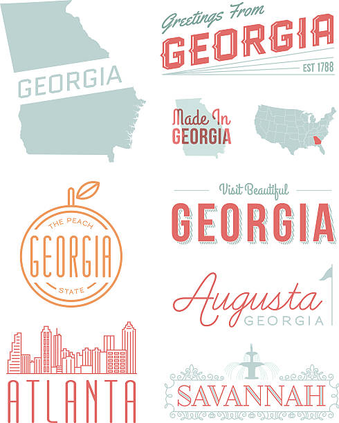 Georgia Typography A set of vintage-style icons and typography representing the state of Georgia, including Atlanta, Savannah and Augusta. Each items is on a separate layer. Includes a layered Photoshop document. Ideal for both print and web elements. southern usa illustrations stock illustrations