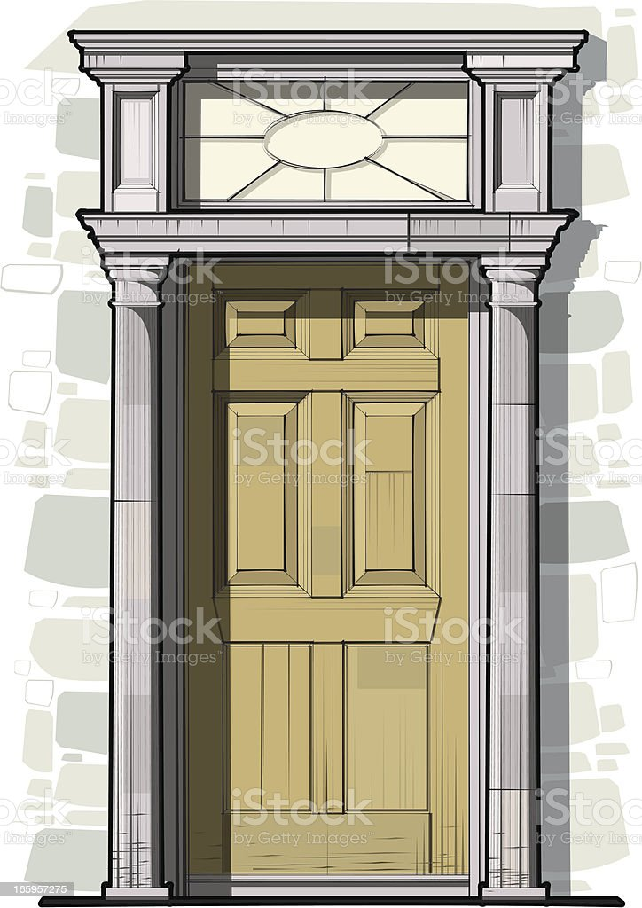 Georgian Door Detail with Columns and Round Fan Light vector art illustration