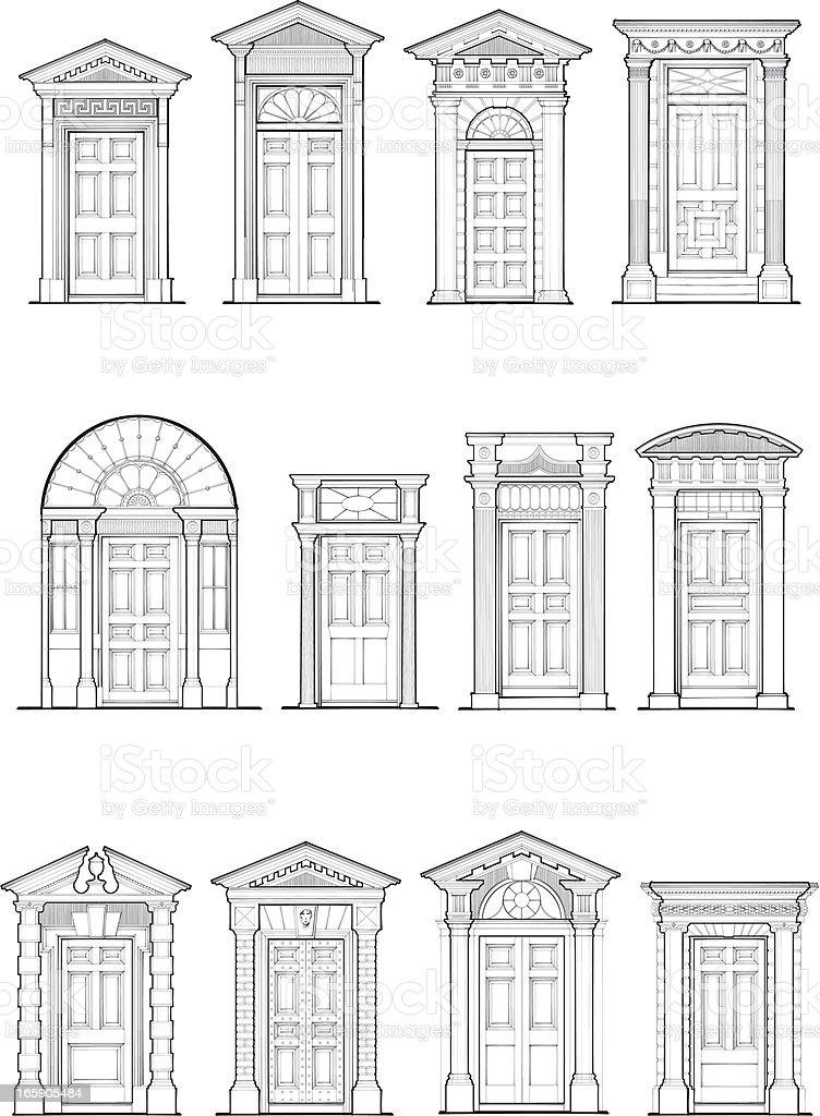 Georgian Door Details vector art illustration