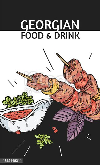 Georgian food and drink banner or poster design hand drawn vector illustration.
