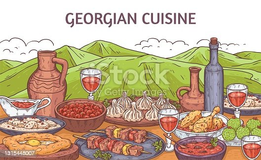 Georgian food banner with dishes at mountains, engraving vector illustration.