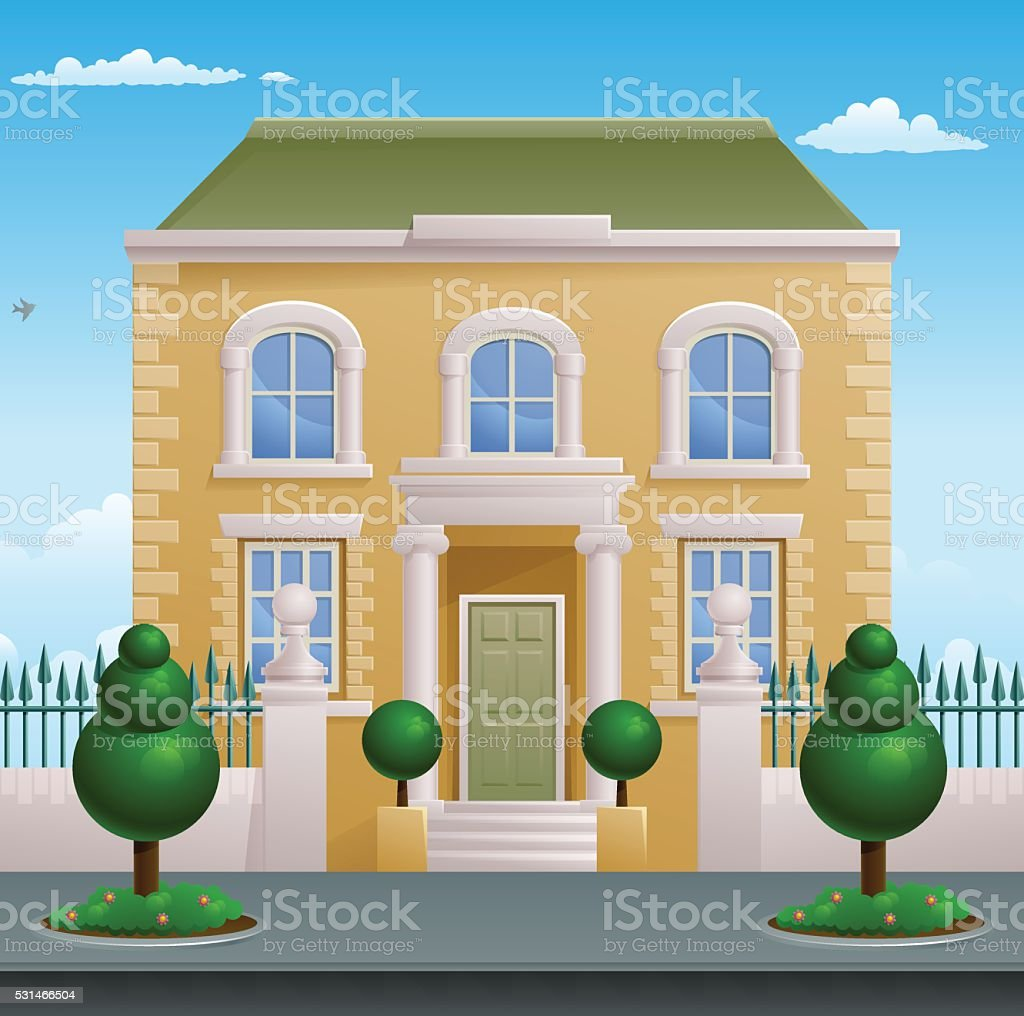 Georgian Victorian House Building vector art illustration