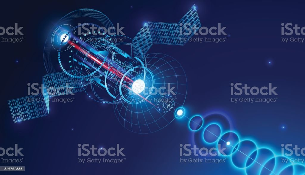 Geostationary telecommunications satellite from space sends a digital signal via satellite dish. Conceptual abstract background. VECTOR vector art illustration