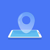geotag location icon mobile navigator application blue background flat vector illustration